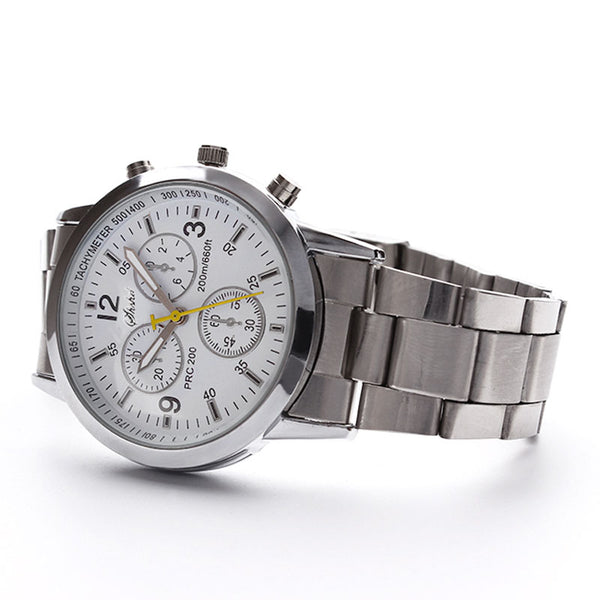 Men's Stainless Steel Vintage Analog Quartz Watch