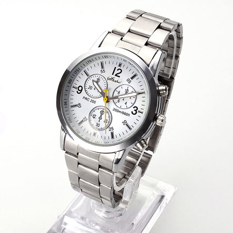 luxwatchstraps has 17mm luxury Analog Quartz casual sport and Vintage steel strip watch White and Yellow seconds hand