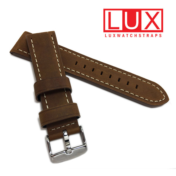 Hadley-Roma MS854 Brown-RST Distressed oil-tanned Leather Watch strap contrast stitching