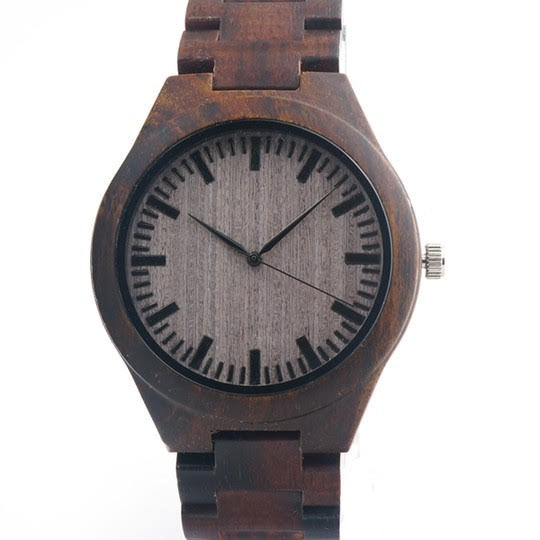 Elegant this Vintage Style wooden Watch Brown dark wood straps with quartz