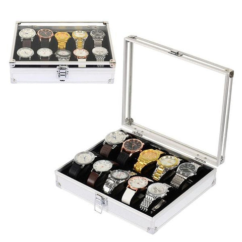 12 slots metal box  watch display in stainless steel