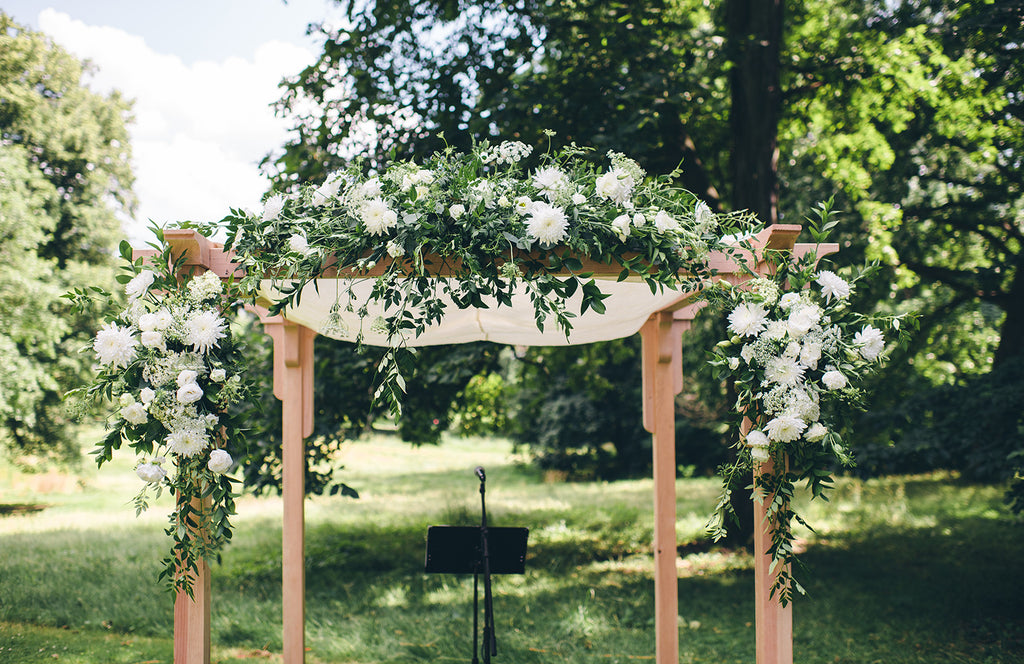 Rachel and Matthew - June Wedding at Awbury Arboretum | Floral Wedding Canopy/Chuppah | Tallulah Ketubahs