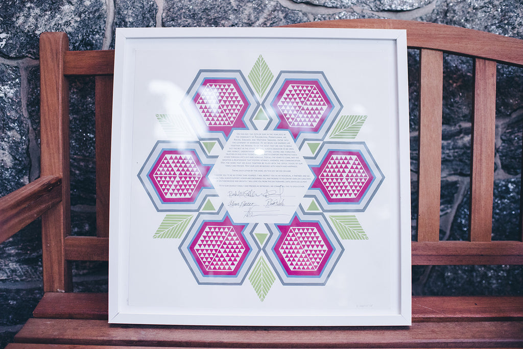 Rachel and Matthew - June Wedding at Awbury Arboretum | Geometric Pomegranate Ketubah | Tallulah Ketubahs