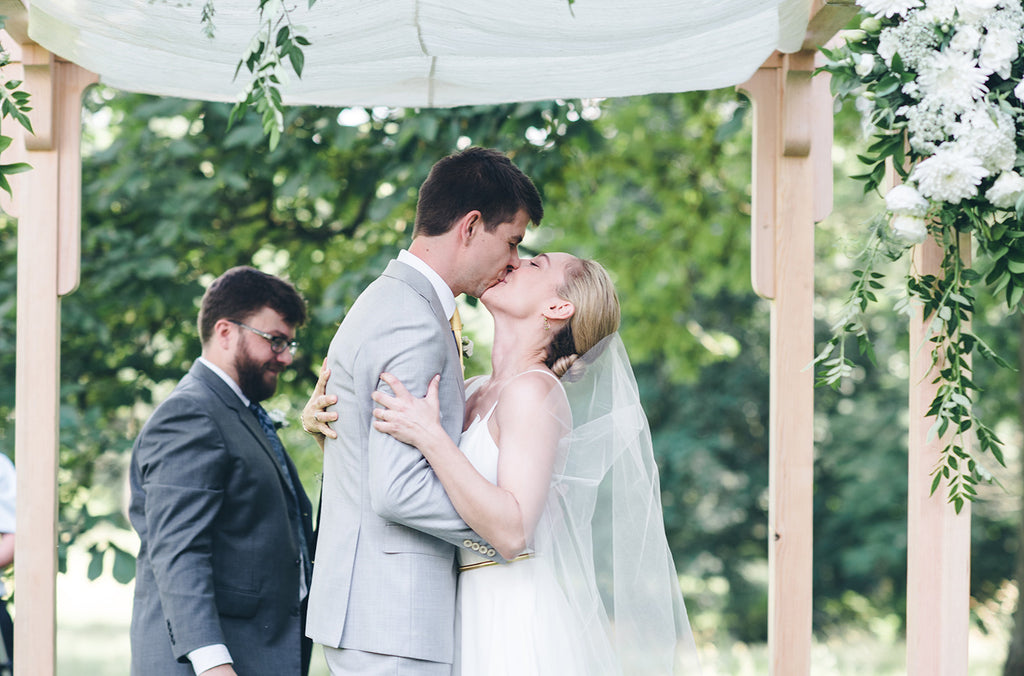 Rachel and Matthew - June Wedding at Awbury Arboretum | Outdoor Ceremony Under Floral Wedding Canopy/Chuppah | Tallulah Ketubahs