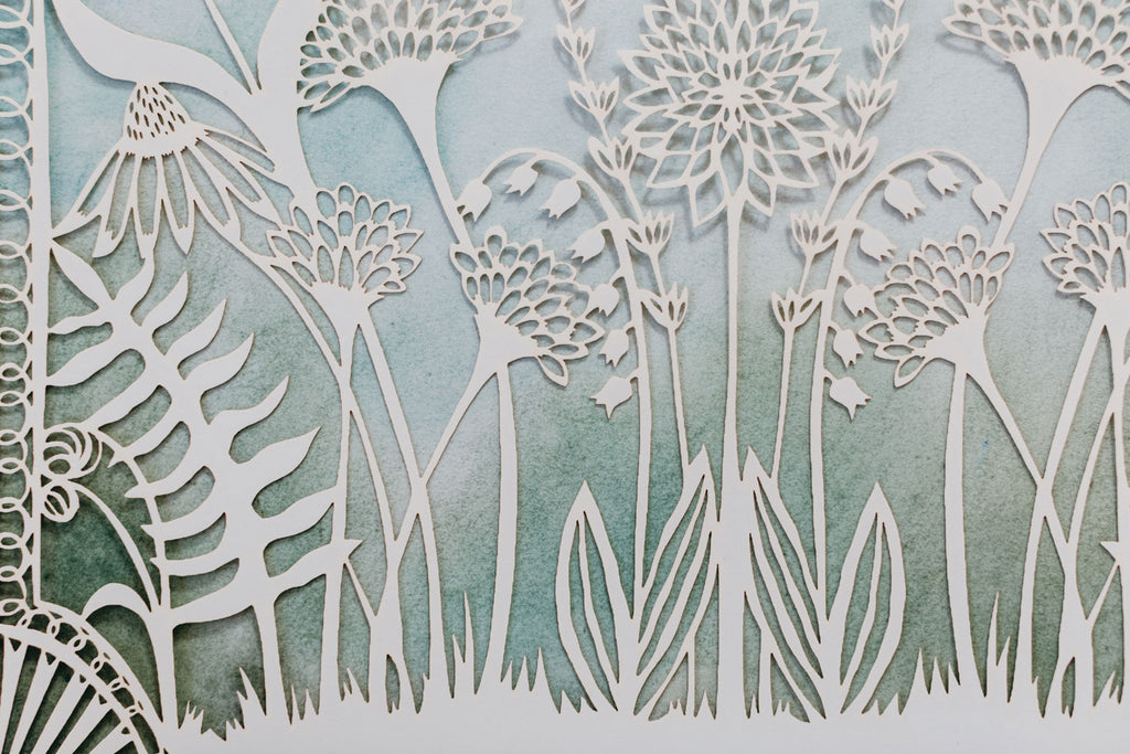 Close Up of Love Birds in the Garden Papercut Ketubah with Custom Watercolor Wash Background | Tallulah Ketubahs