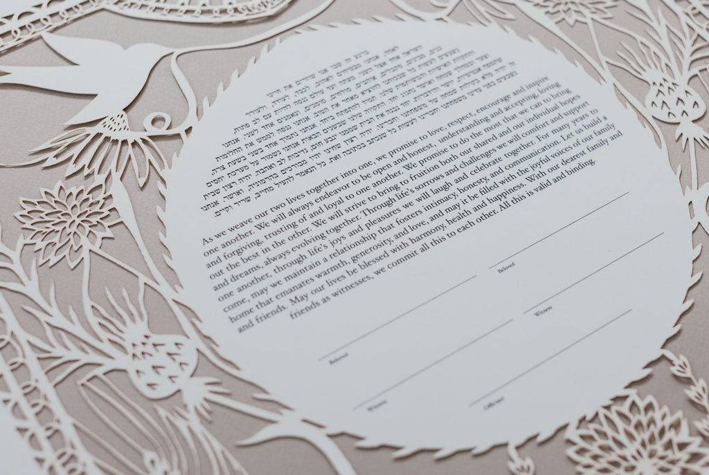 Close Up of Love Birds in the Garden Papercut Ketubah | Tallulah Ketubahs