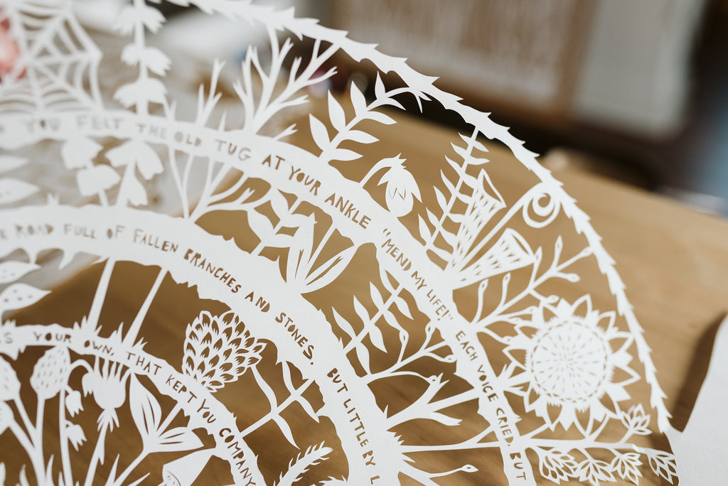 Close Up of Papercut by Guest Artist Annie Howe | Tallulah Ketubahs