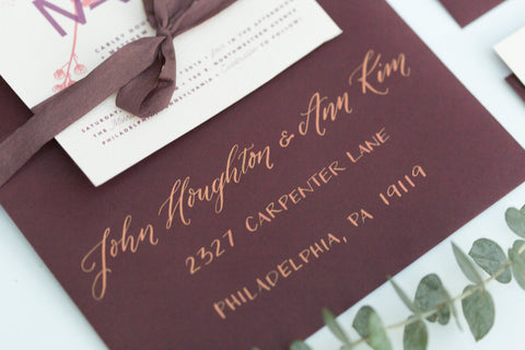 Fig and Gold envelope calligraphy