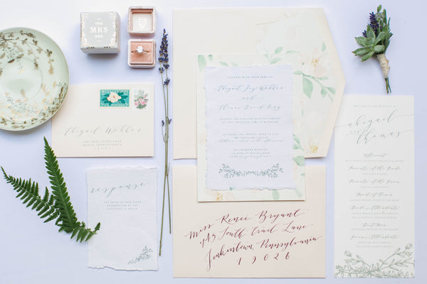 English Garden Party Styled Shoot at Bolingbroke Mansion | Calligraphy Invitations for an English Garden Party Wedding by Papertree Studio | Tallulah Ketubahs