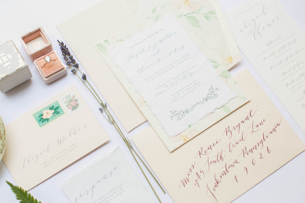 Calligraphy invitations for an English Garden Party Wedding
