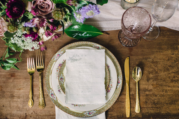 Place setting for an English Garden Party Wedding