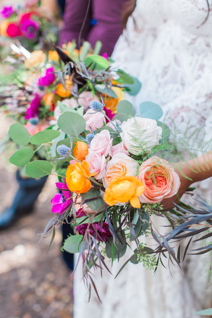 Courtney & Sam Beautiful Boho Wedding in Santa Barbara | Colorful Wedding Bouquet | Tallulah Ketubahs