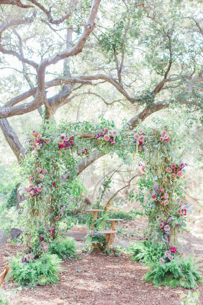 Courtney & Sam Beautiful Boho Wedding in Santa Barbara | Floral Chuppah - Wedding Canopy | Tallulah Ketubahs