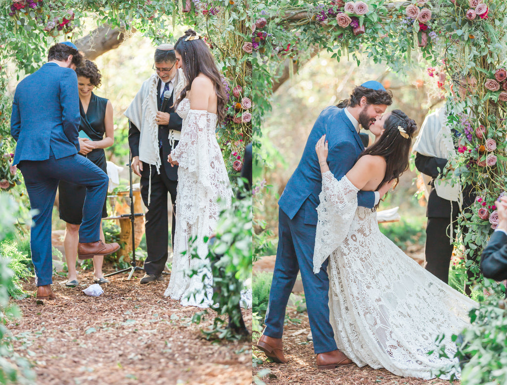 Courtney & Sam Beautiful Boho Wedding in Santa Barbara | Forest Wedding Ceremony | Floral Chuppah - Wedding Canopy | Tallulah Ketubahs