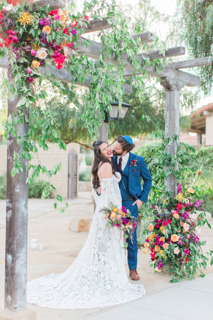 Courtney & Sam Beautiful Boho Wedding in Santa Barbara | Floral & Wooden Wedding Canopy | Tallulah Ketubahs