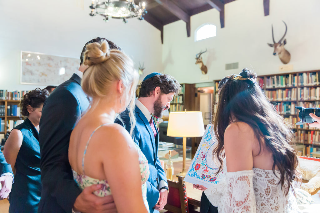 Courtney & Sam Beautiful Boho Wedding in Santa Barbara | Signing the Ketubah | Tallulah Ketubahs