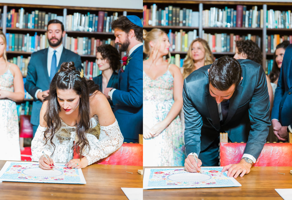 Courtney & Sam Beautiful Boho Wedding in Santa Barbara | Signing of the Ketubah | Tallulah Ketubahs