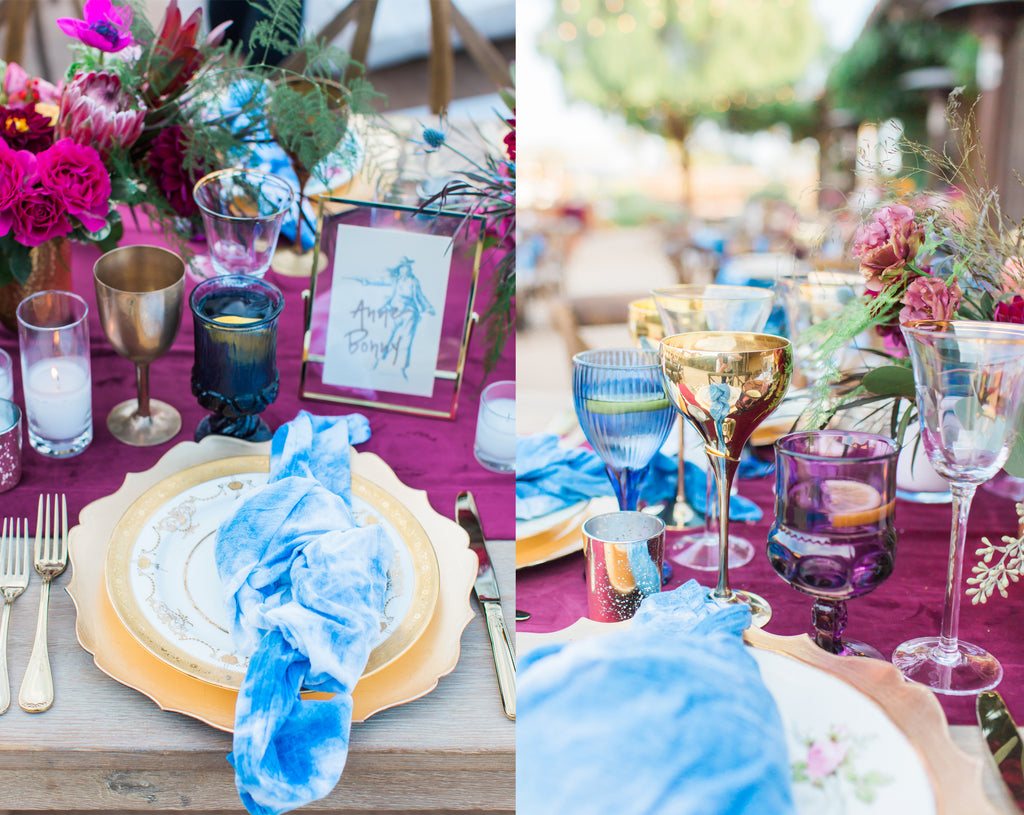 Courtney & Sam Beautiful Boho Wedding in Santa Barbara | Colorful Wedding Reception Tablescape | Tallulah Ketubahs