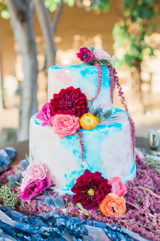 Courtney & Sam Beautiful Boho Wedding in Santa Barbara | Colorful Wedding Cake | Tallulah Ketubahs