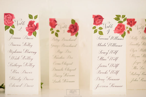 Hand Painted Red Rose and Calligraphy Escort Cards