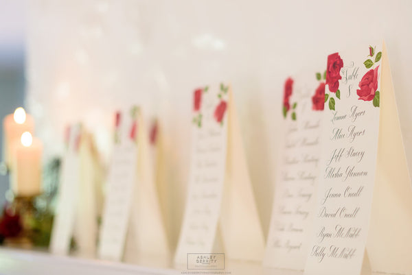 Bespoke Rose Escort Cards on Display