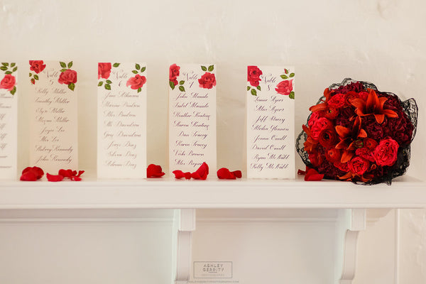 Hand Painted Rose Escort Cards with Black Calligraphy