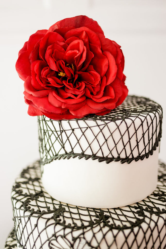 Wedding Cake with Black Lace Piping and Red Rose Topper