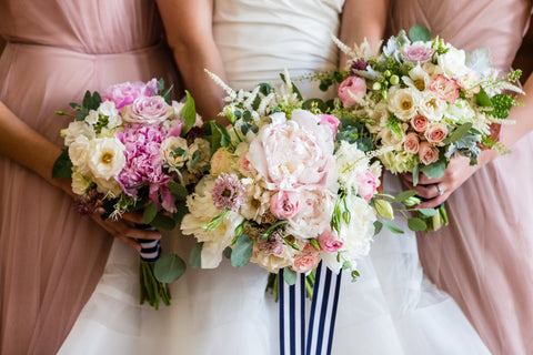 Pink flowers wedding bouquet