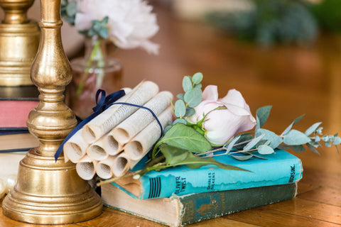 Wedding table setting with scrolls