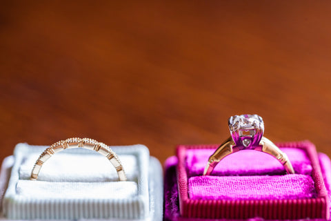 Engagement ring in pink box