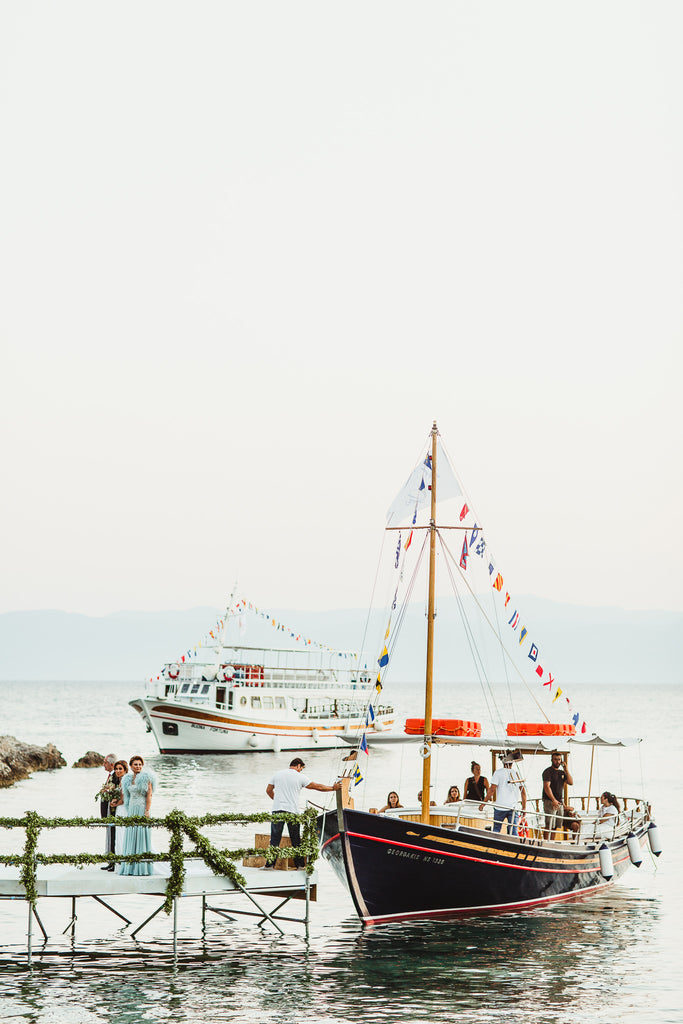 Celine & Jad - Luxury Bespoke Destination Wedding in Spetses Island, Greece | Bride's Entrance by Boat | Tallulah Ketubahs