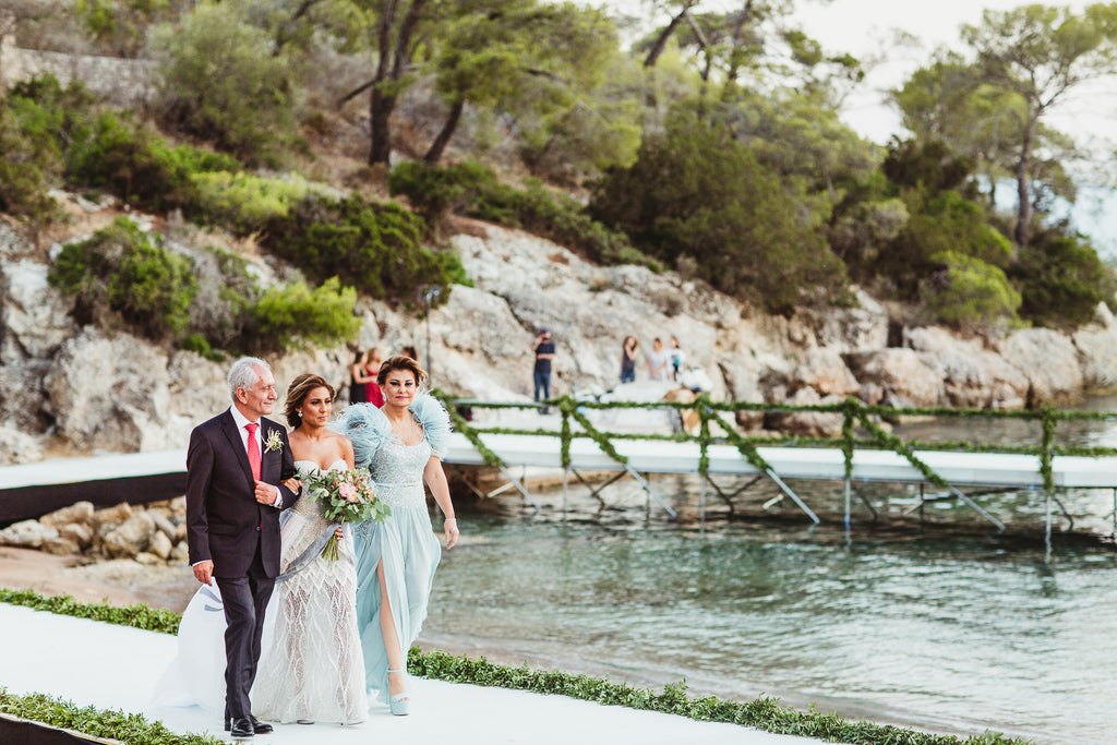 Celine & Jad - Luxury Bespoke Destination Wedding in Spetses Island, Greece | Arriving Bride | Tallulah Ketubahs