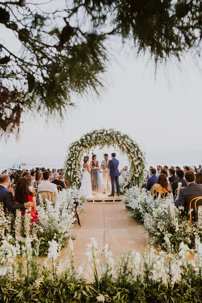 Celine & Jad - Luxury Bespoke Destination Wedding in Spetses Island, Greece | Romantic Floral Ceremony and Wedding Arch | Tallulah Ketubahs
