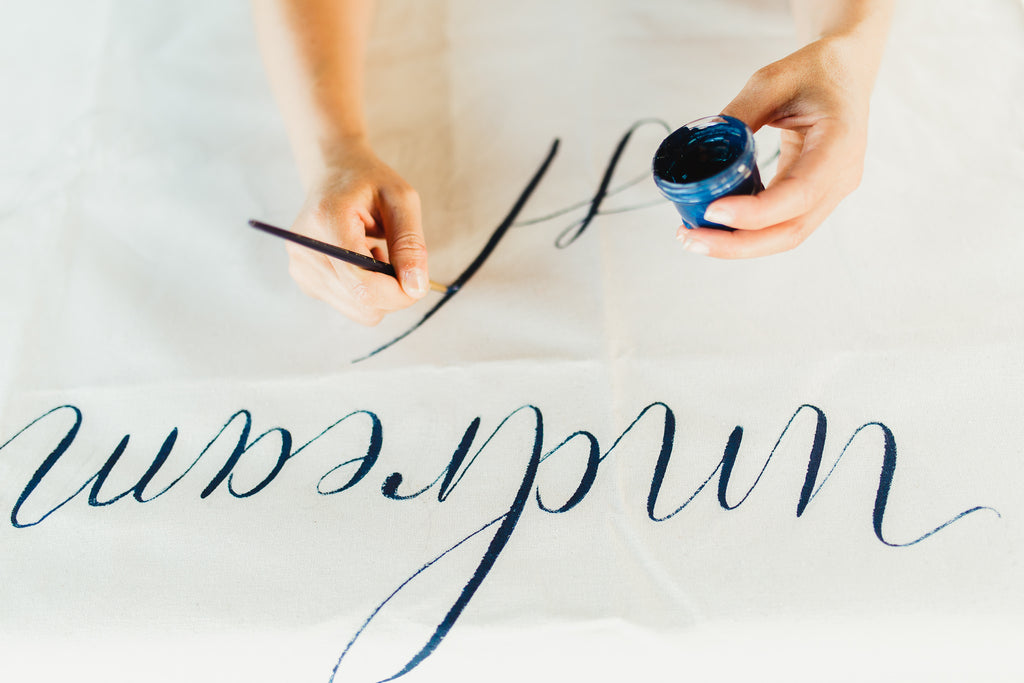 Celine & Jad - Luxury Bespoke Destination Wedding in Spetses Island, Greece | Close-Up of Hand Calligraphy | Tallulah Ketubahs