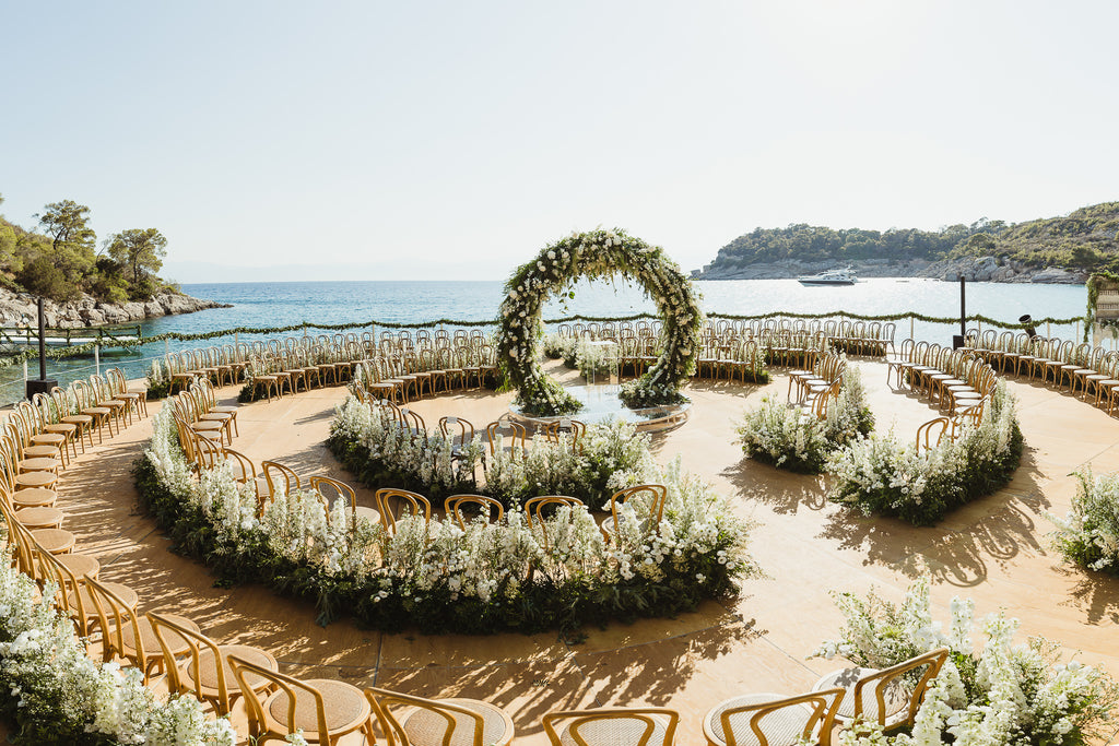 Celine & Jad - Luxury Bespoke Destination Wedding in Spetses Island, Greece | Circular Ceremony Seating | Romantic Floral Wedding Ceremony | Tallulah Ketubahs