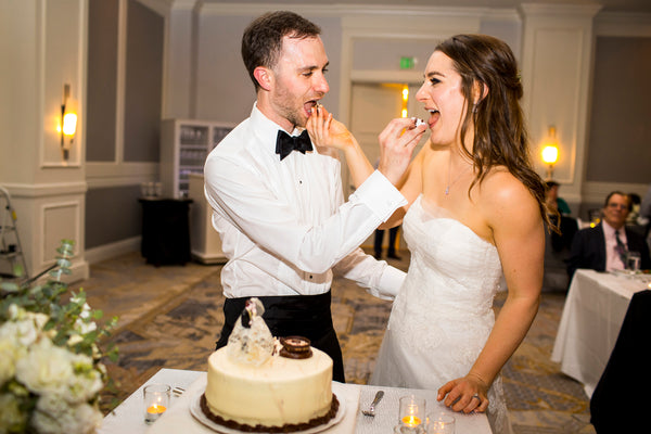 Ellen & Adam - Wedding at the Ritz Carlton, Half Moon Bay | Cutting the Cake | Tallulah Ketubahs