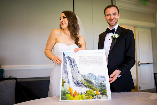 Ellen & Adam - Wedding at the Ritz Carlton, Half Moon Bay | Signing the Ketubah | Yosemite Falls Custom Ketubah | Tallulah Ketubahs