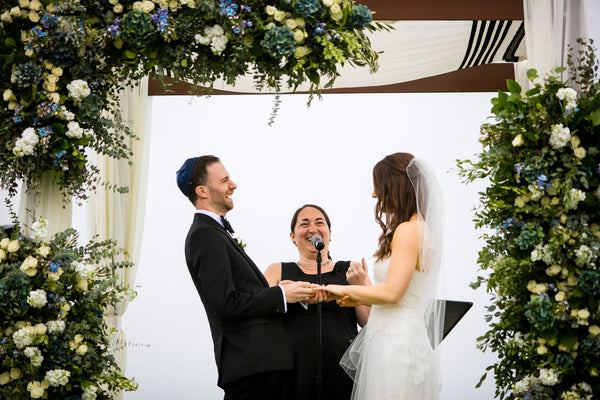 Ellen & Adam - Wedding at the Ritz Carlton, Half Moon Bay | Outdoor Ceremony Under Floral Wedding Canopy/Chuppah | Tallulah Ketubahs