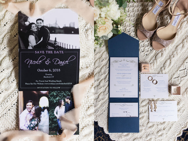 Nicole & Dan's Modern Jewish Wedding in Hartford, CT | Save the Date & Invitation Suite | Tallulah Ketubahs