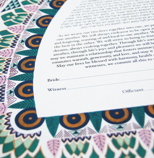 Art Deco Ketubah with Matching Parents' Gift | Detail Shot | Tallulah Ketubahs