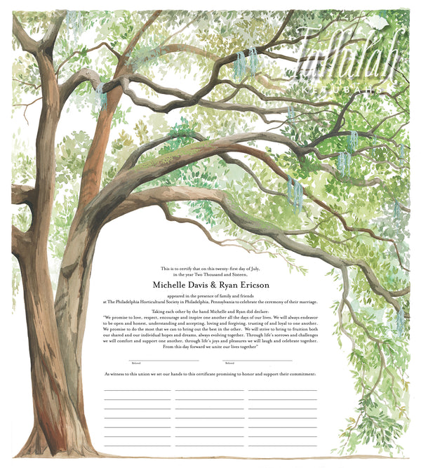 Live Oak Tree Quaker Marriage Contract | Tallulah Ketubahs
