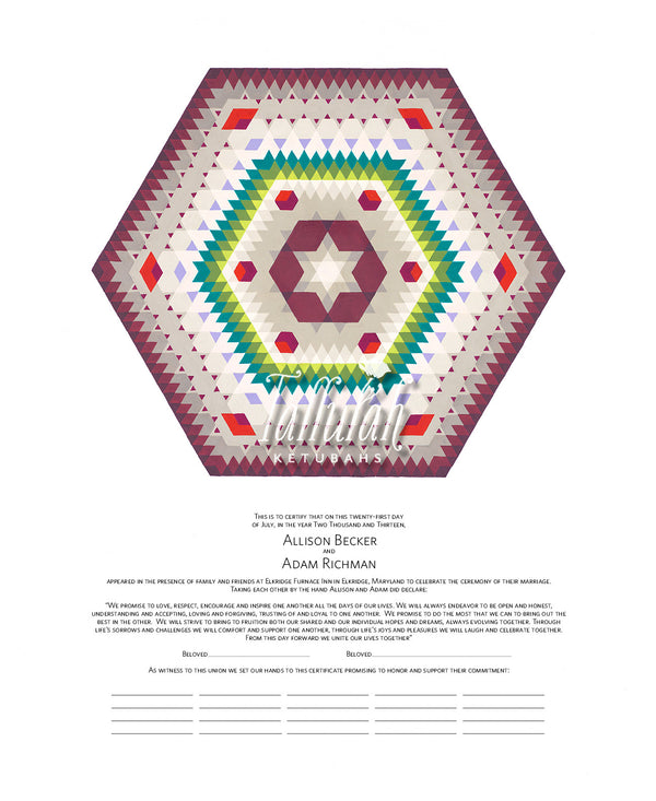 Southwestern Hexagon Quaker Marriage Contract | Tallulah Ketubahs