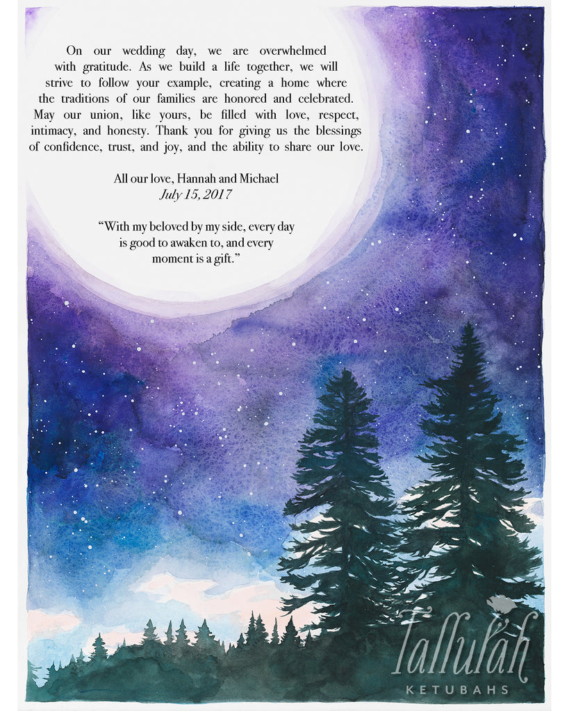 Tall Trees in the Moonlight Parents Gift | Tallulah Ketubahs