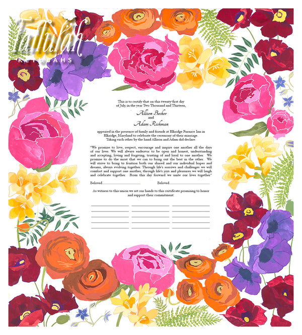 Vibrant Bouquet Quaker Marriage Contract | Tallulah Ketubahs