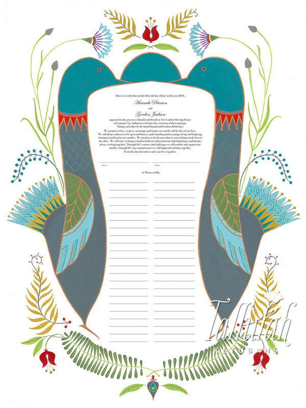 Folk Art Hamsah Quaker Marriage Contract | Tallulah Ketubahs