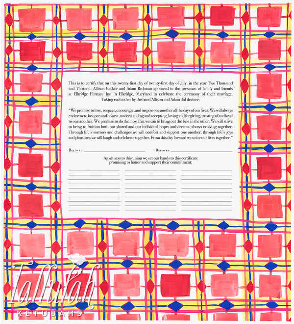 Pink Diamond Geometric Quaker Marriage Contract | Tallulah Ketubahs