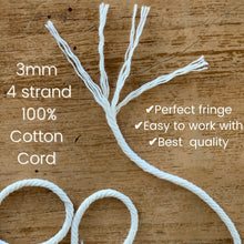 Load image into Gallery viewer, Macrame Cord 3mm 100% Cotton 4 strand - 328 Feet