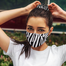 Load image into Gallery viewer, Black and White Zebra: Face Masks Reusable Set With Matching Hair Scrunchie Accessories