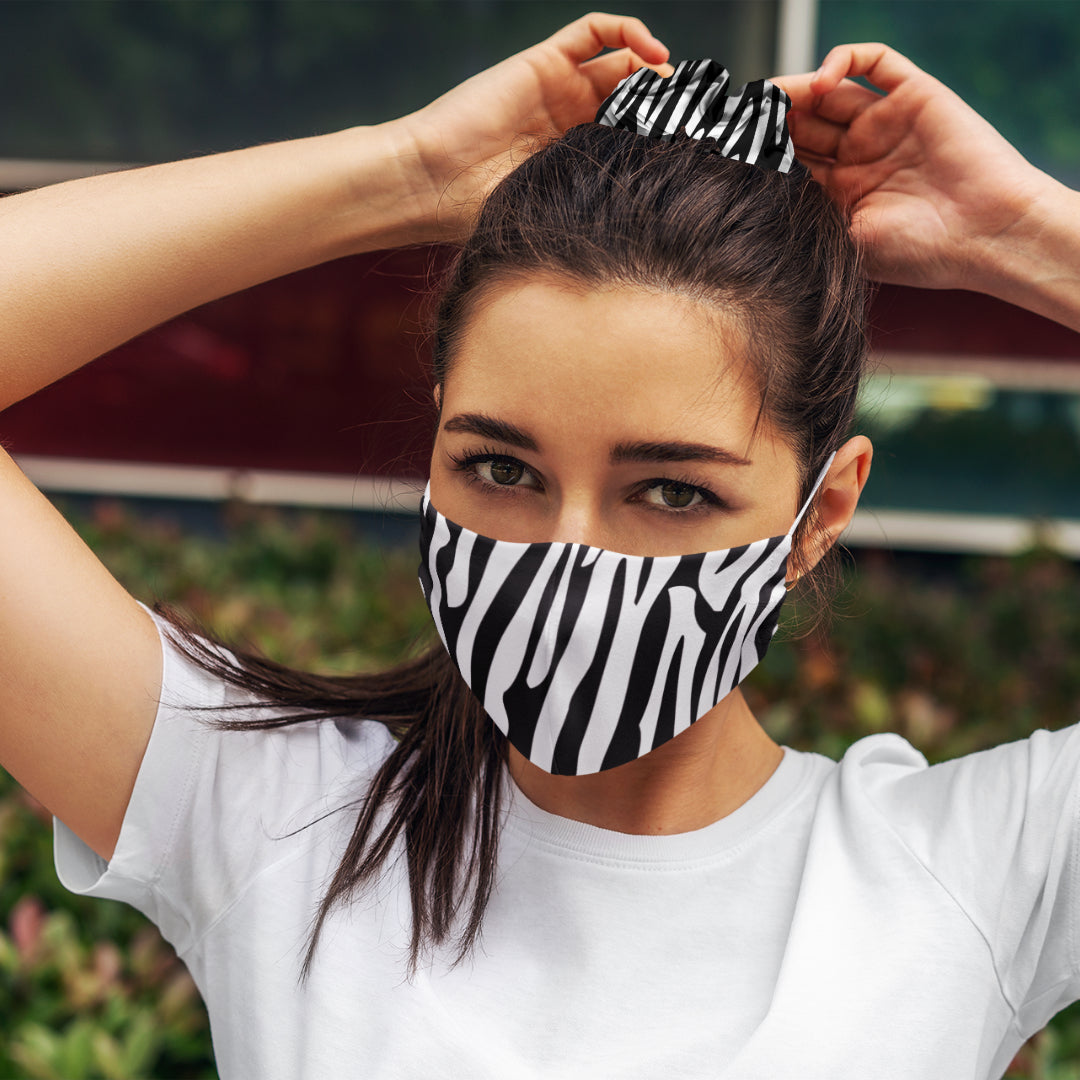 Black and White Zebra: Face Masks Reusable Set With Matching Hair Scrunchie Accessories