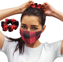 Load image into Gallery viewer, Red Plaid: Face Masks Reusable Set With Matching Hair Scrunchie Accessories